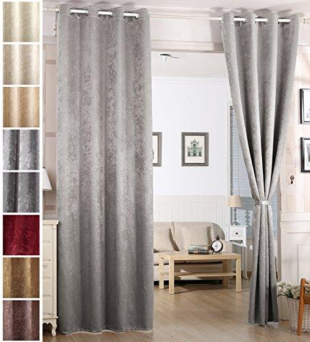 Woltu - #340 tenda termica coprente/oscurante con occhielli  in pesante tessuto damascato effetto vintage e shabby chic, tessuto, grigio argentato, 135x225 cm