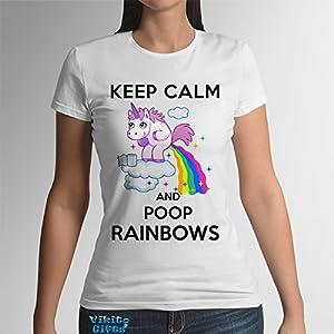 Damen Tshirt Keep Calm And Poop Rainbows Baumwolle Motiv Einhorn lustiges Sommer Geschenk