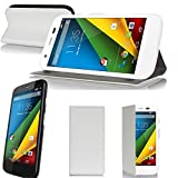 Motorola Moto G 4G/LTE Tasche Leder Hülle Weiß Cover mit
