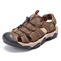 GOMNEAR Outdoor Hiking Sandals for Men Closed Toe Trail Athletic Climbing Summer Fisherman Leather Beach Shoes Slippers Sliders Brown 41