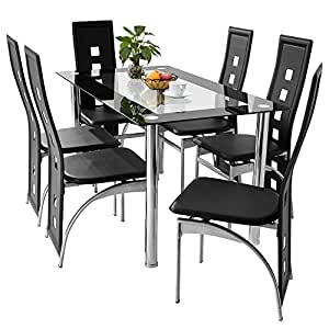 panana 6pcs black high back faux leather dining chairs with rectangular tempered glass dining. Black Bedroom Furniture Sets. Home Design Ideas