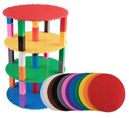Pack de 12 bases redondas con 100 ladrillos separadores 2 x 2 - Apilables - Compatible con todas las marcas - 20,32 cm de diámetro - Rojo, naranja, verde, azul, lila, rosa y otros