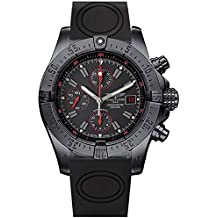 Breitling Avenger Esfera de color negro reloj cronógrafo de hombre correa de goma m133802C/bc73