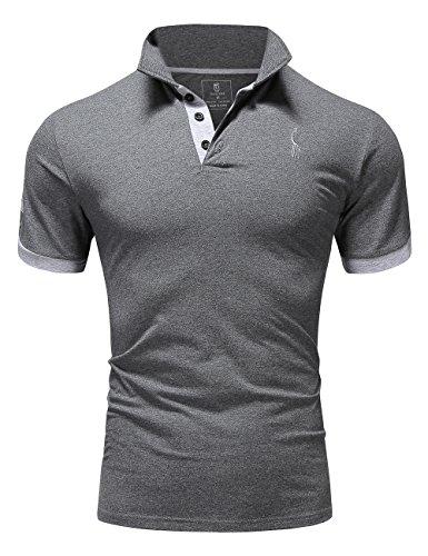 Glestore Herren Poloshirt Einfarbig M - XXL (XL, Grau)