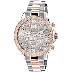 LUXURMAN Mens Diamond Watch Two-Tone White Rose Gold Plated Liberty with Swiss Movement Plus 2 Leather Straps