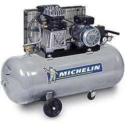 MICHELIN GB100 Compresseur 100 litres Courroie 3 CV Bicylindre en Ligne Fonte, Gris