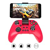 MYGT C04 Wireless Bluetooth Gamepad Controller for PC, PS3, Android and iOS devices with in-built Mobile Holder and Rechargeable Battery (Red)