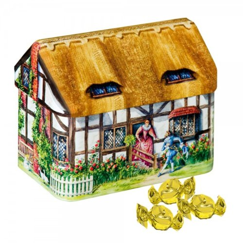 English Cream Toffees in an English Thatched Cottage Money Box Tin