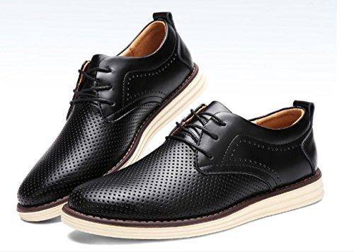 Männer Schuhe Mesh Oberfläche Breathable Leder Schuhe Rindsleder Casual Schuhe Young Business Schuhe Black