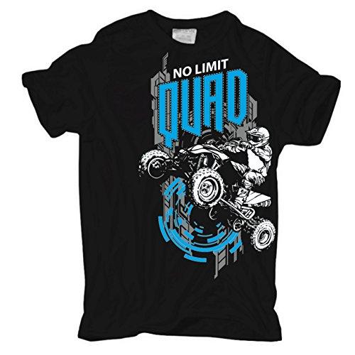 Männer und Herren T-Shirt QUAD No Limit (mit Rückendruck) Körperbetont schwarz