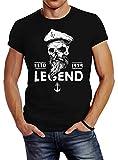Neverless Herren T-Shirt Skull Captain Legend Totenkopf Bart Kapitän Slim Fit Schwarz XL