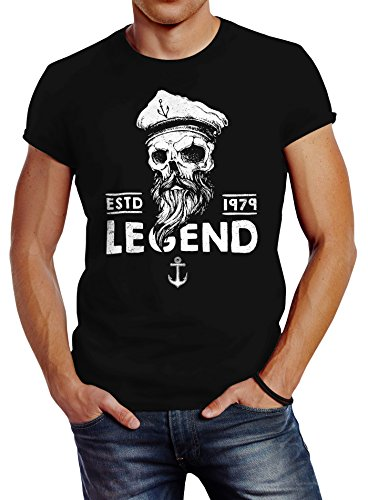 Herren T-Shirt Skull Captain Legend Totenkopf Bart Kapitän Slim Fit Neverless® Captain schwarz