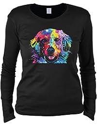 Golden Retriever Damen Shirt langarm Hunde Neon Pop Art Motiv Golden Langarmshirt buntes Portrait Hund Longsleeve Rundhals in schwarz : )