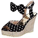 AIYOUMEI Damen Tuch Peep Toe Keilabsatz Sandalen mit Schleife und 10cm Absatz Süß Sommer Schuhe