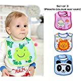 Wishkey Baby Bibs For New Born Infants Set Of 3 |Unisex Cotton Bibs For Boys And Girls|Multicolor Printed Velcro Feeding Bibs For 6 Months To 2 Years Kids|Soft,Comfortable And Absorbent Material Mashine Washable Easy To Clean Bibs