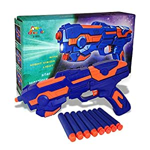 Sky Tech® 2 in 1 Foam Blaster Gun Toys Safe and Long Range with Water Bullets & Laser Light Toy (Galaxy Gun with 8 Pieces Soft Bullets) for 3+ Kids