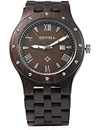 Bewell ZS - W109A Reloj de Madera para Hombre Movimiento de Cuarzo Luminoso Dial Redondo(Ébano)