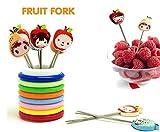 #10: Ylloolly Color Rings Designer Fruit Fork Stand With 8 Cartoon Shape Fruit Forks