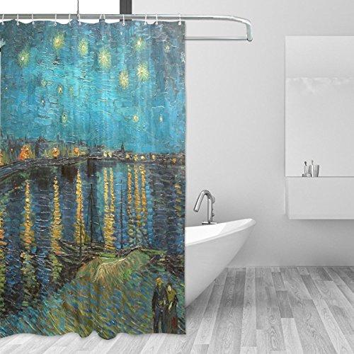 jstel Van Gogh Starry Night Over the Rhone Duschvorhang Schimmelresistent und Polyester-Wasserdicht-182,9x 182,9cm für Home Extra Lang Badezimmer Deko Dusche Bad Vorhänge Liner mit 12HO