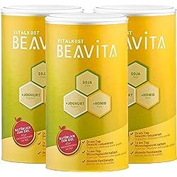 BEAVITA Vitalkost Plus Vanille - Substitut de Repas 3 x 500g - Programme Minceur en 14 jours - Shake délicieux accompagnant un régime - Sans Gluten Sans Substitut de Sucre