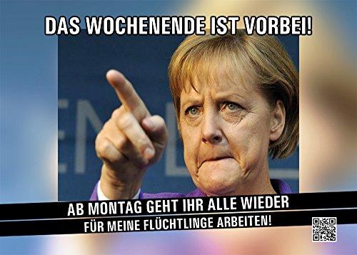 Aufkleber / Sticker - Merkel, Das Wochenende ist vorbei (Sticker-Set, 10 Stück), Merkel, Bundeskanzlerin, Flüchtlinge, Wochenende, Refugees