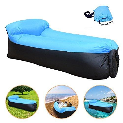 Sofa Hinchable, Sotical Veamor tumbona inflable cama con almohada integrada, portátil impermeable 210T poliester aire sofá inflable Sillón, Tumbona de playa cama de aire para viajar, piscina, Camping, parque, playa, patio trasero (Azul claro + negro)