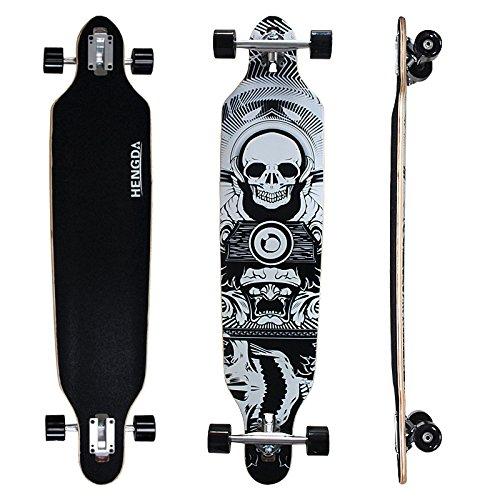Hengda® Longboard Street Board Cruiserboard 104cm Skateboard Komplettboard ABEC 7 Kugellager 9-Lagen-Ahornholz (Longboard Totenkopf)
