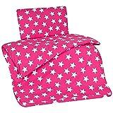 Aminata Kids - Kinder-Bettwäsche 100-x-135 cm Stern-e-Motiv Star Sternchen 100-% Baumwolle Baby-Bettwäsche Renforce rosa pink Weiss-e