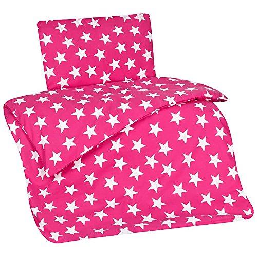 Aminata Kids Kinderbettwäsche 100x135 Mädchen Sterne pink rosa Bettwäsche Kinderbett (Mädchen Kopfkissenbezug)