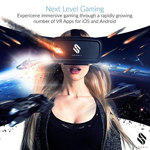 smaart® VR Brille mit integriertem Magnet Controller | Version 2017 | Universal Virtual Reality Headset Box für iPhone 5, 6, 6s, 6 Plus, 7, 7 Plus und Android smartphones | für 3D Videos und VR Apps