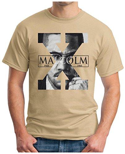 OM3 - MALCOLM-X - T-Shirt BLACK POWER ACTIVIST REVOLUTION FREE AFRICA USA NEW YORK SWAG, S - 5XL Khaki