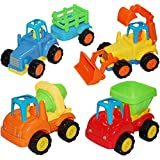 Push And Go Car Toys Friction Powered Cars For Toddler, Friction Power Baby Kit Set Within 4pcs Construction Vehicle Cars Excavator, Farm Vehicle, Dump Truck, Cement Mixer