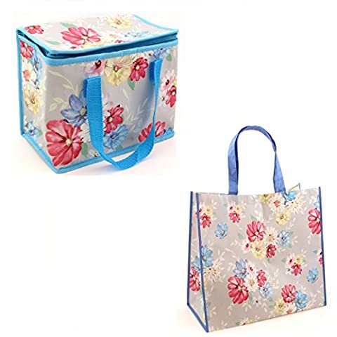 Gossip Girl - Lovely Foil Insulated Lunch Bag - Retro Mrs Smith / Boat / Pink Pug / Caravan + Reusable Shopper (Blossom Floral)