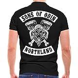 Sons of Odin Männer und Herren Polo Shirt German Biker (mit Rückendruck) Größe S - 10XL