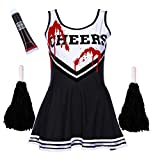 ZOMBIE CHEERLEADER COSTUME OUTFIT WITH POM POMS - FANCY DRESS COSTUME SPORTS HIGH SCHOOL MUSICAL HALLOWEEN OUTFIT - 6 COLOURS / SIZE 6-16