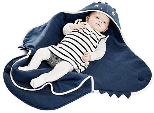 cke Coco, Sehr praktische und Kuschelweiche Babydecke, Die Babydecke mit niedlicher Tier Müster, 100% Baumwolle, 90 x 70 cm, Farbe: Blau ()