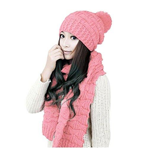 WINOMO Damen Winter gestrickter Hut Mütze und Schal Set Rosa (Handschuh Rosa Hut)