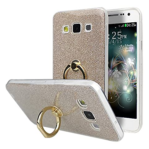 Coque Galaxy A3 2015, Moon mood 2in1 Hybrid Cover avec 360 Degree Rotating Grip Finger Ring Case Bling Gliter Sparkle Briller Coque [PP Détachable Bling Paper] pour Samsung A3 2015 A300 Paillette Anti Choc Housse Etui Premium Coque Anti Poussiere Shock Absorption Soft TPU Silicone Cas pour Samsung Galaxy A3 2015 (Not pour Samsung Galaxy A3 2016/2017)