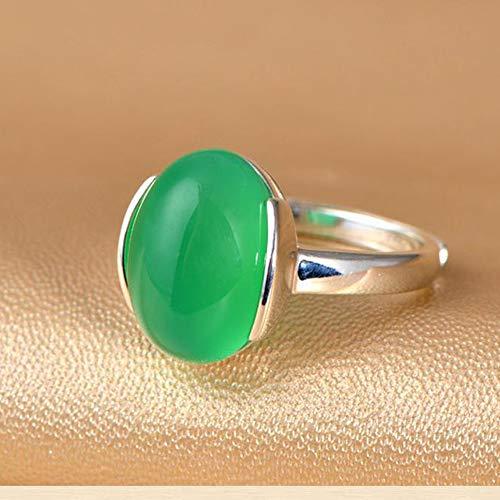 Daeou Ringe für Damen 925 Sterling Silber Ring grüne Jade Öffnung Ring