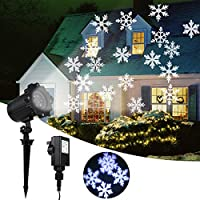 Christmas Projector Lights, Greenclick Snowflake Projector IP65 Waterproof Decoration Spotlights, Moving LED Outdoor Landscape Projector For Wedding Party Festival Use【Wire 5m/16.4ft】