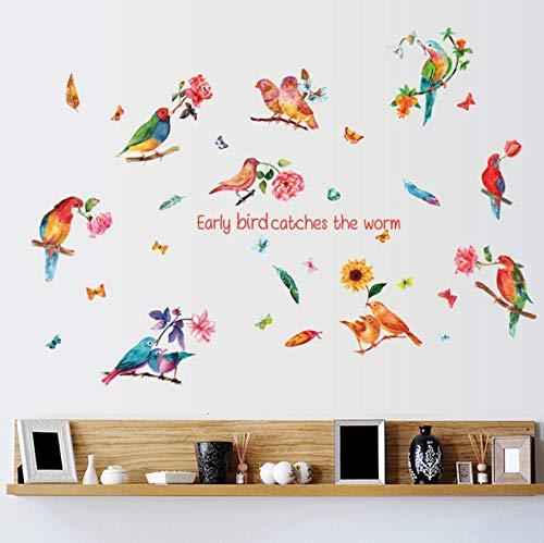 Lyiting Aquarell Papagei Vogel Blume Wandaufkleber Wohnkultur Wohnzimmer Tv Hintergrund Diy Wandtattoos Selbstklebende Film Urlaub Verkauf Geschenk (Der Film Halloween Im Tv)