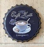 L'Esprit des Anges Dekoschild Coffee Caffé aus Metall in Kapselform Ø 40 cm