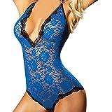 Donne lingerie corsetto pizzo filante mussola Body tentazione biancheria intima indumenti,Yanhoo Donna Lingerie Esotico Pizzo Pigiama Vestito Babydoll Biancheria (XXXL, blu)