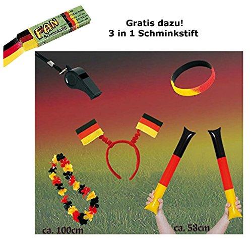 KarnevalsTeufel Fan Set, 5-TLG. Deutschland, EM, WM, Fußballparty, Germany, Fanartikel