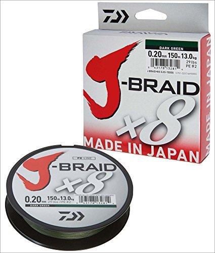 Daiwa J-Braid 8 Braid 300m vert foncé - Ligne de pêche tressée