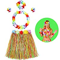 bluesees Hawaiian Grass Skirt, 5 In 1 Hawaiian Fancy Dress Hula Grass Skirt Set with Necklace Bracelets Lei Headband Flower Top Hair For Girls Women Hawaiian Luau Party Hawaii Party supply Accessory