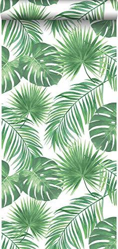 carta da parati foglie tropicali verde - 139013 - di ESTAhome.nl