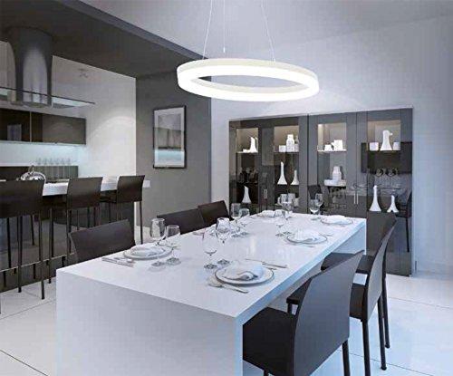 LED Design Hängeleuchte oval weiß matt dimmbar mit Led Dimmer - 3000 Kelvin Warmweiß - Designleuchte