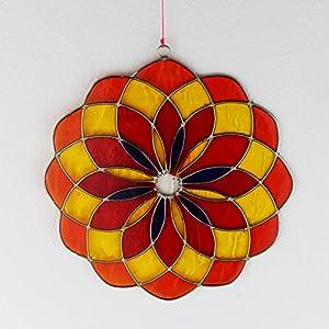 Fensterdeko Mandala aus Resin rot, gelb | Fenster Deko zum Aufhängen | Sonnenfänger | Deko Sommer | Fensterschmuck Geschenkidee