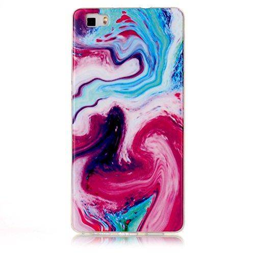 Für Huawei P8 Lite 2017 Abdeckung Marmor Stein Textur Muster Anti-Kratzer Shockproof Ultra Slim Soft TPU Schutzmaßnahmen zurück Cover Case Shell ( Color : C ) Q